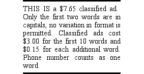 Classified Ad Example