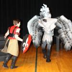 Bradamant (Megan Winner) is attached by the Hippogriff (Elizabeth Gardner). Photo by Jon Gardner