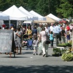 Shoppers beguile themselves on a sunny summer day at the Farmers Market, Photo by Karl Gary