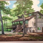 Painting of  108 Ridge Road.  Home is open for the solar tour, October 1 and 2 from 11a.m. to 5 p.m.
