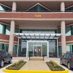 Entrance to one of the Commerce Center buildings leased by TRex. Photo courtesy of Shaw Realty