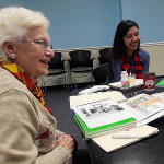 Margaret Boles, of Greenbelt, is a volunteer tutor with the English for Speakers of Other Languages Department. Here she works with Roxana Menjivar, 18.  Photo by Jill  Connor