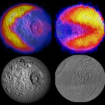 The Pac-Man pattern on Saturn's moons were detected with Cassini's composit infrared spectrometer in 2012.  Photo courtesy of NASA